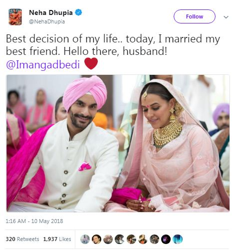 Neha dhupia married marriage
